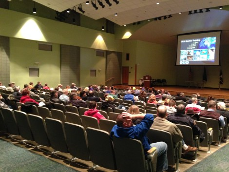 SKYWARN storm spotters and future spotters prepare for training Feb. 16, 2016 at the Public Safety Academy of Northeast Indiana, Fort Wayne