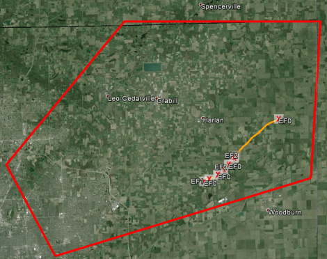 The red, five-sided polygon encloses the part of Allen County to which the tornado warning applied. The dark yellow line within the polygon depicts the tornado's path.