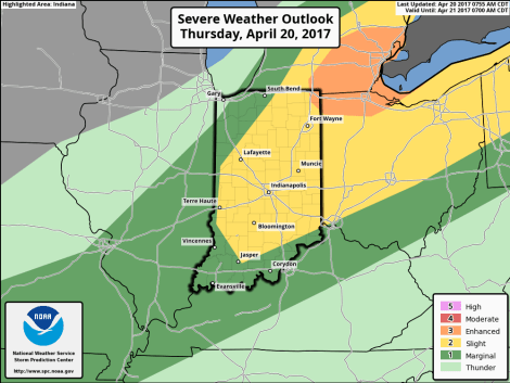 Indiana map showing Risks of severe weather between 9 a.m. ET Thurs., April 20, 2017 and 8 a.m. the following day. Source: National Weather Service Storm Prediction Center