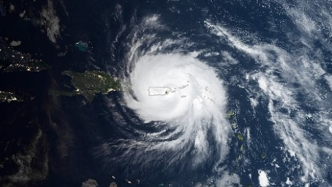 NASA satellite image of Hurricane Maria over Puerto Rico