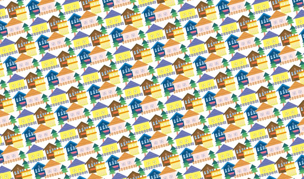 カラフルなお家柄の包装紙