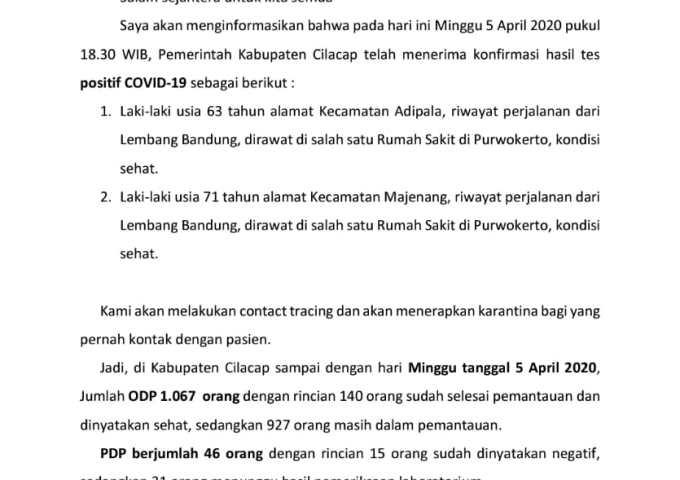 Pers Rilis Bupati Cilacap: Positif Covid-19 Bertambah