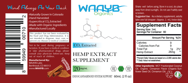 WAAYB Organics Cinnamon 1200mg Hemp Extract Oil