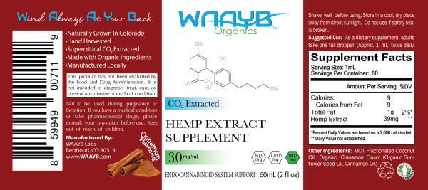 WAAYB Organics Cinnamon 1800mg Hemp Extract Oil