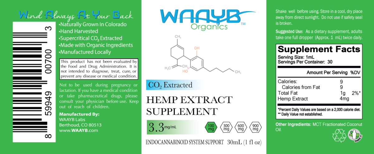 WAAYB Organics Flavorless 100mg Hemp Extract Oil