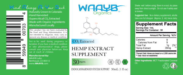 WAAYB Organics Flavorless 900mg Hemp Extract Oil