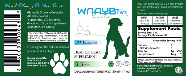 WAAYB 100mg Hemp Extract for Pets