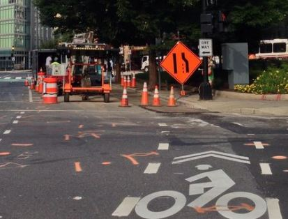 Construction blocking the M St Cycletrack