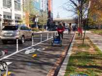 Trails tours featured the new protected bike lane on M St NE