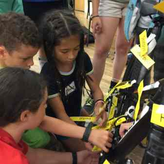 Campers identify and label bike anatomy