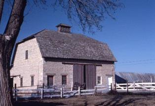 The William Mitchell barn, photographed here by Charles Herman in the 1970s, is located just east of Wabaunsee, Kansas.