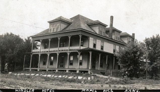 Real Photo Postcard, Windler Hotel, Maple Hill, Kansas