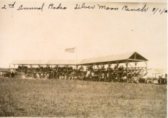 The Silver Moon Ranch rodeo arena was located in Farmer Township of Wabaunsee County on the Frank Ranch. The ranch hosted a gala annual rodeo which drew large crowds from across the state. Photo courtesy Trish Ringel.