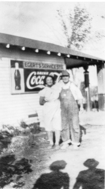 Henry and Emma Egert stand beside their service station, located five miles north of Eskridge on the corner of K-4 Highway and North Branch Road. Photo courtesy Emmett and Carolyn Burleson.