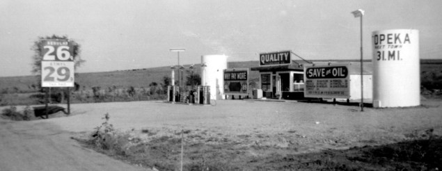 Jack Ginder built this gas station located three miles north of Alma on old Highway 40 in the late 1940s. Ginder owned numerous Quality Oil stations across Kansas. This station was razed when Interstate 70 was constructed, and a new Quality Oil station was built a quarter of a mile south on Kansas Highway 99. Jim Lewis operated both stations for over 30 years. Photo courtesy Linda Coon.