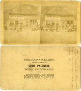 """This stereoview card was created by Louis Palenske in 1880 while working in a """"photography tent"""" in the mining boom town of Rico, Colorado. In this view a burro train had arrived with supplies for the Davis & Raymond General Merchandise store. Photo courtesy Greg Hoots."""