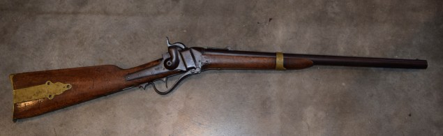 This Sharps Model 1852 was built by the Sharps Rifle Manufacturing Company between 1853 and 1855.