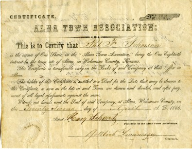 This stock certificate, dated 1866, gives one share of the Alma Town Association to the bearer, Phil Johnson. A single share was the equivalent of 1/80th interest in the new town.