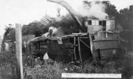A CRIP steam wrecker lifts debris from a derailed train at Alta Vista, Kansas in January of 1908.