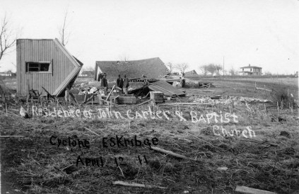 The John Carter residence and the African American Baptist Church were totally destroyed by the 1911 tornado which struck Eskridge, Kansas.