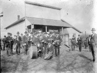 The Volland Brass Band poses in front of the Kratzer Bros. store at Volland in this Otto Kratzer photo from 1905. Bandleader Ferdinand Herrmann is seen at the far left with his clarinet. Photo courtesy Karen Durso.