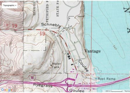Schnebly Coulee Topo Map