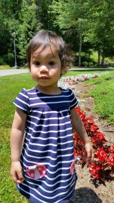 Toddler on sunny day in front of red flowers