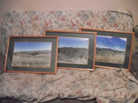 Go to the camera and find the three pictures of Central Otago and get the them enlarged. Put in to frame and re-seal back. Now the three pictures we took look like a bought set.