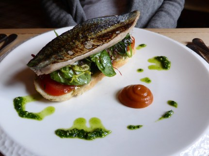 grilled fillet of North Sea mackerel on wild garlic toast