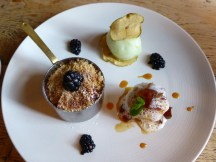 blackberry & apple crumble, apple sponge & apple sorbet