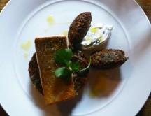 roast wild sea trout with imam bayaldi, crispy falafel & mint labneh