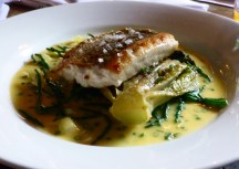 Cornish hake with braised gem, English samphire and chive beurre blanc