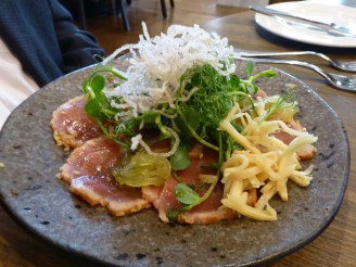 Tuna carpaccio, pickles & crispy noodles
