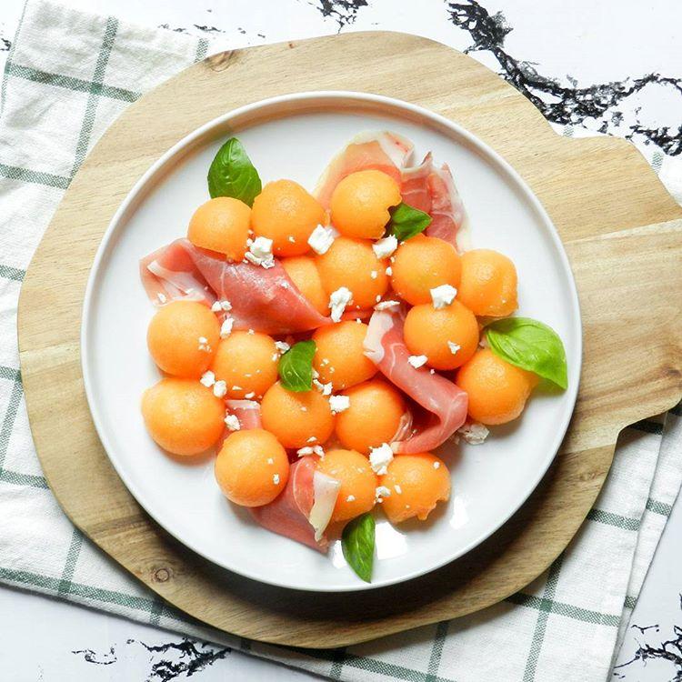 Salade de melon, jambon cru et feta