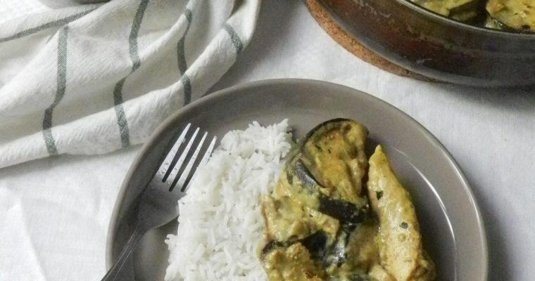 Curry d'aubergines et poulet