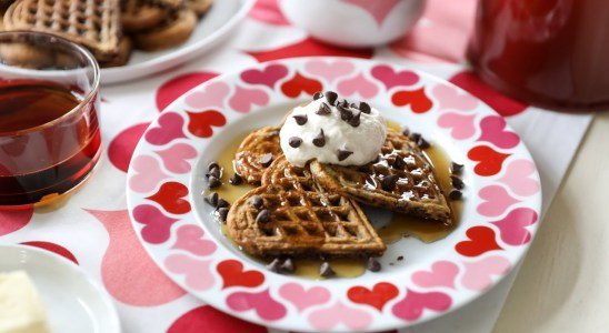 Chocolate Chip Waffle Recipe with Peanut Butter Whipped Cream