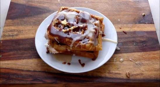Homemade Cinnamon Roll Buttermilk Waffles