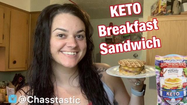 Lazy Keto Recipe | Keto Breakfast Sandwich | Birch Benders KETO waffle | McGriddle| Chassity Hudgins
