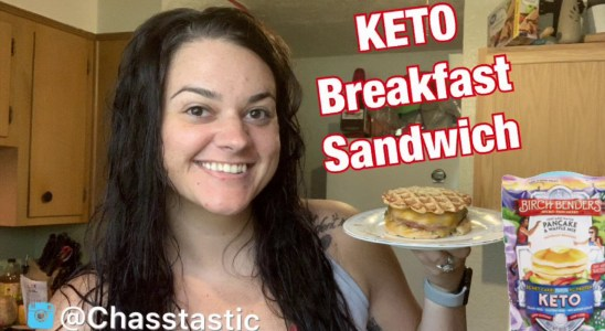 Lazy Keto Recipe | Keto Breakfast Sandwich | Birch Benders KETO waffle | McGriddle| Chassity Hudgins