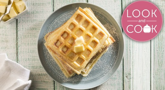 Waffles Recipe - Look and Cook step by step recipes | How to cook Waffles Recipe