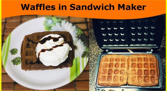 Chocolate Waffles Without Eggs / Waffles in Sandwich Maker / Eggless Waffles Recipe