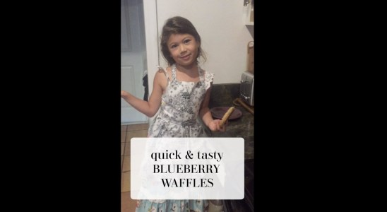 EASY Kid Friendly Waffle Recipe with Blueberries on Top || QUICK AND EASY