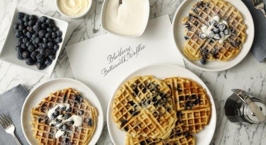 Buttermilk Waffles with Blueberries- Martha Stewart