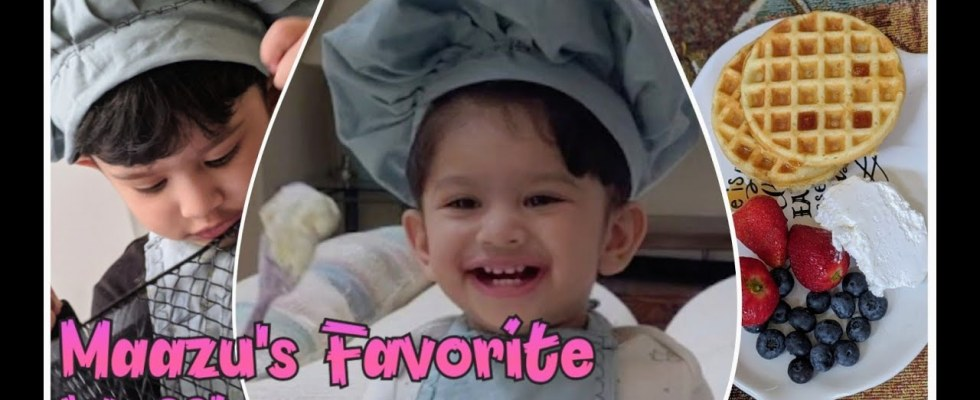 Little Chef Maazu with Waffle Recipe,Cute 1yr Old Chef in Kitchen...