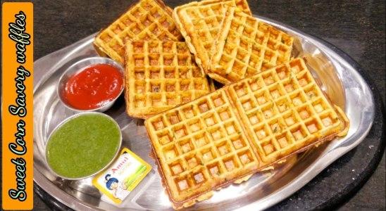 Sweet Corn Savory Waffles Recipe   Easy & Perfect Snack recipe