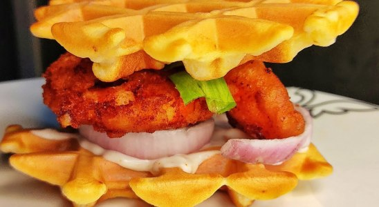Prawn Tempura & Waffle Sandwich   Savoury Waffle   Easy Recipe   Homemade