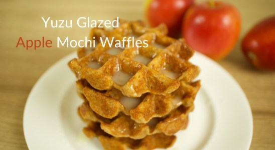 Yuzu Glazed Apple Mochi Waffles Recipe (Gluten Free / Eggless / Vegan Option)