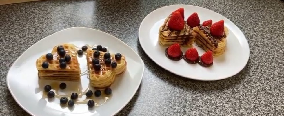 Home made waffles with strawberry and blueberry