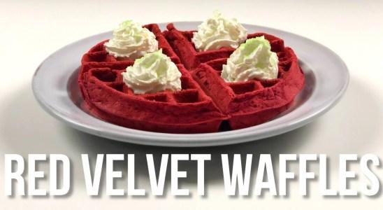Red Velvet Waffles Recipe - Christmas Treats