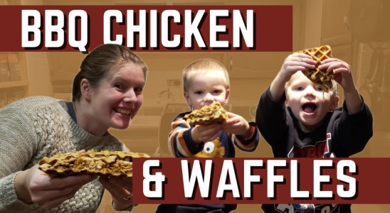 Easy BBQ Chicken and Cornbread Waffles Recipe